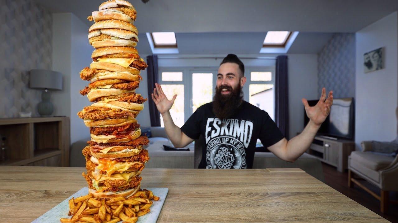 THE BIGGEST KFC TOWER BURGER EVER ASSEMBLED CHALLENGE | BeardMeatsFood