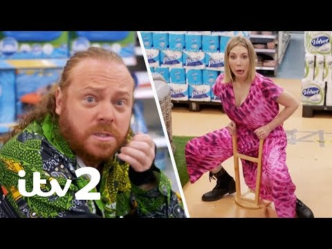 Katherine Ryan Shows Off Her Bar Stool Rodeo Trick... That Goes Wrong! | Shopping With Keith Lemon