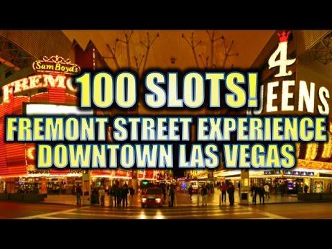 100 SLOT MACHINES!!! VEGAS FREMONT STREET EXPERIENCE | 2016 DOWNTOWN LAS VEGAS