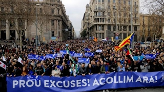 Manifestación #VolemAcollir en Barcelona