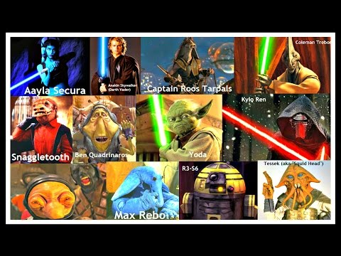 Showing a Complete List of all Star Wars Characters Over 1000