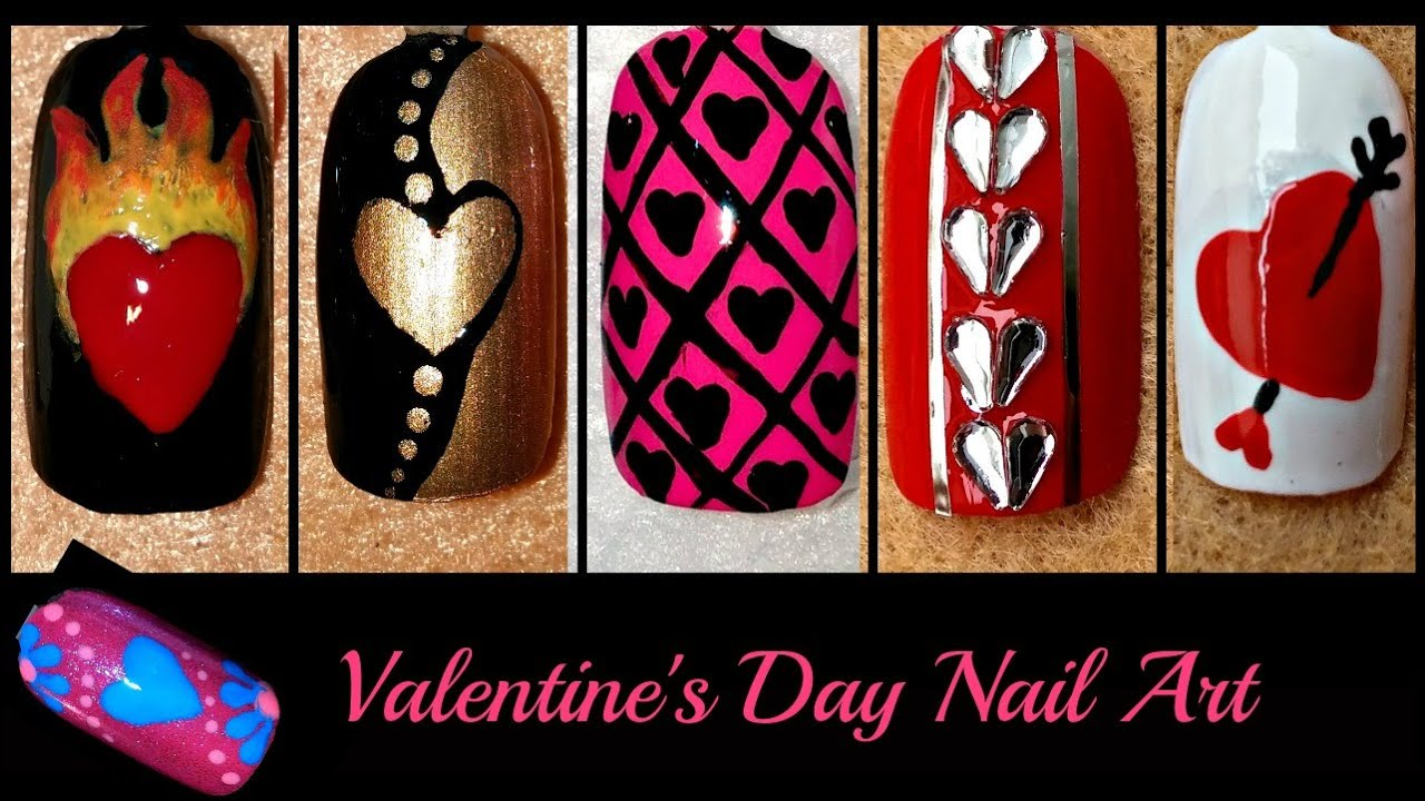 Easy valentines day nail art diy different designs youtube solutioingenieria Images