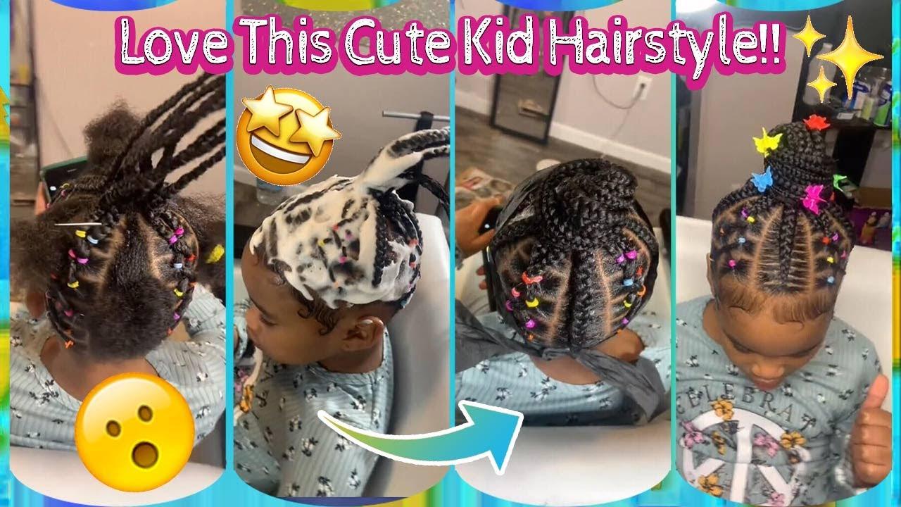 Adorable!💓 Do This Top Bun With Stitch Feedin Braid   Knotless Box Braid   Elfinhair