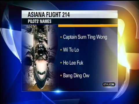 KTVU News Anchor Reads Fake Asiana Pilot Names