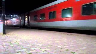 Dibrugarh Rajdhani Express departs Lumding Junction.