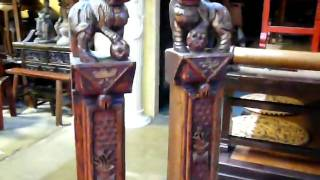 Pair Vintage Wood Fu Dog Table Lamps S1076m