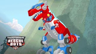 connectYoutube - Transformers: Rescue Bots Season 3 - 'Optimus Prime's Primal Mode, T-Rex!' Official Clip