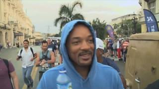 U.S. actor Will Smith runs through Havana streets