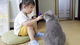 3岁的小孩严厉教育猫猫真听懂了马上变乖巧