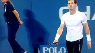 Andy Murray smashes his racquet in the U.S. open..