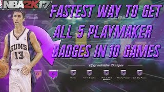 NBA 2K17 FASTEST Way TO GET ALL 5 BADGES for Playmaker & Point Forward, ALL HOF BADGES + Grand Badge