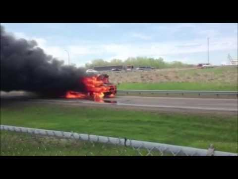 Raw: Rolling Burning School Bus