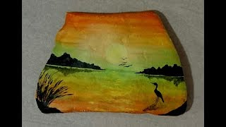 ROCK PAINTING -- Sunset silhouette painting -- Easy painting for beginners- Acrylic painting