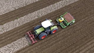 Claas Xerion 3800 Trac & Miedema CP 42P planting potatoes | The sound monster!