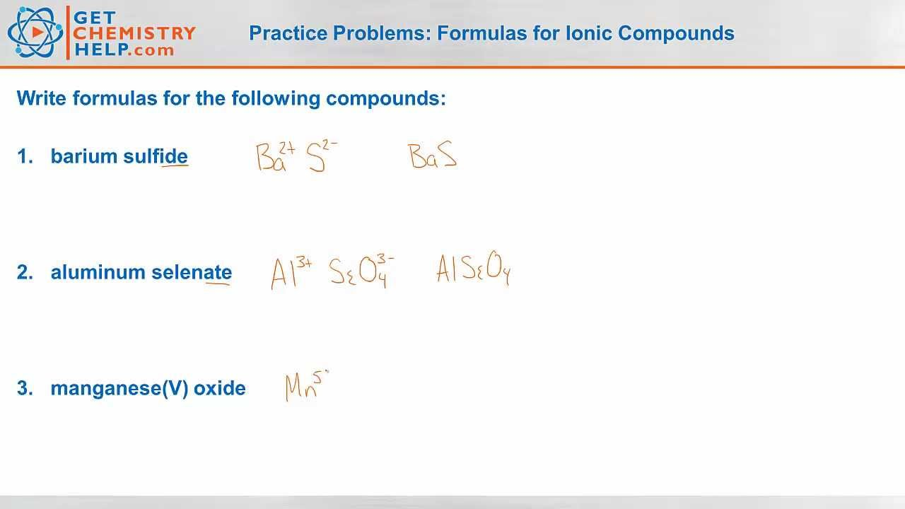 Chemistry Practice Problems Formulas For Ionic Compounds Youtube