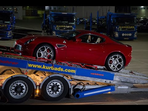 Elegant Alfa Romeo 8C Competizione on Kurbads' car carrier