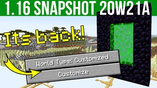 Minecraft 1.16 Snapshot 20w21a Custom Dimension & Custom World Generation Support!