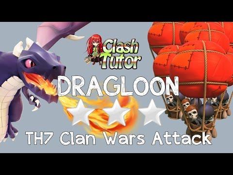 Clash of Clans CHEAP TH7 Dragon Balloon (Dragoon) Clan Wars Attack