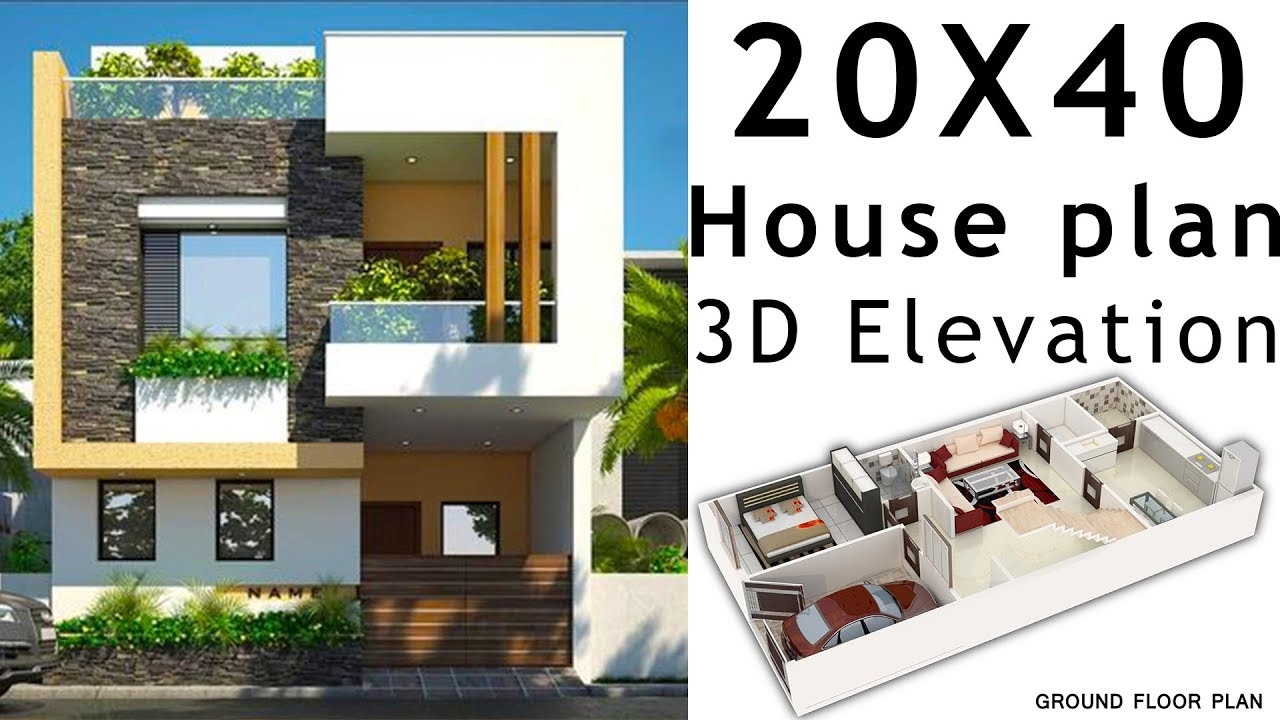 20x40 House Plan With 3d Elevation By - Gaines Ville Fine Arts