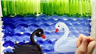 Рисование для маленьких детей.Как нарисовать лебедей красками.
