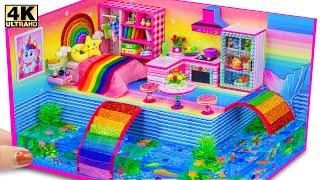 DIY Miniature Cardboard House #104 ❤️ Build Aquarium Around Miniature Rainbow House from Cardboard