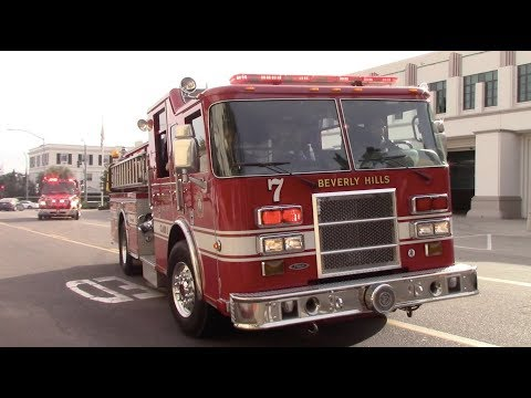 Beverly Hills Fire Dept. Engine 7 & Rescue 1 Responding