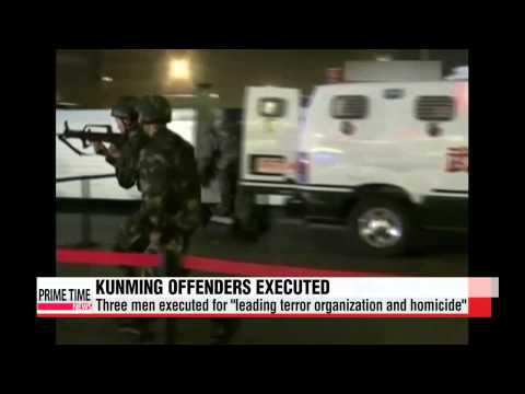 China executes three men involved in Kunming Station attack   중국 지난해 쿤밍 테러범 3명 사