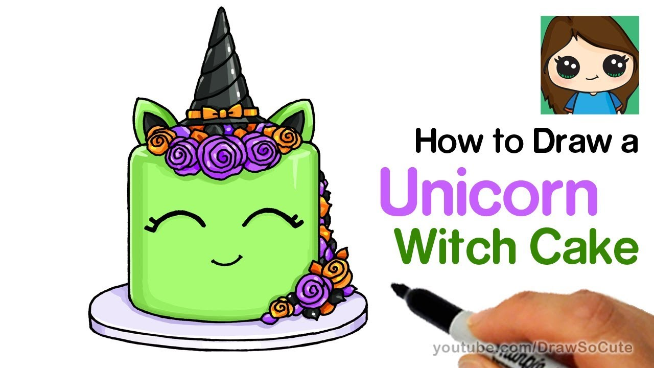 How To Draw A Cute Unicorn Cake Happy Drawings Unicorn