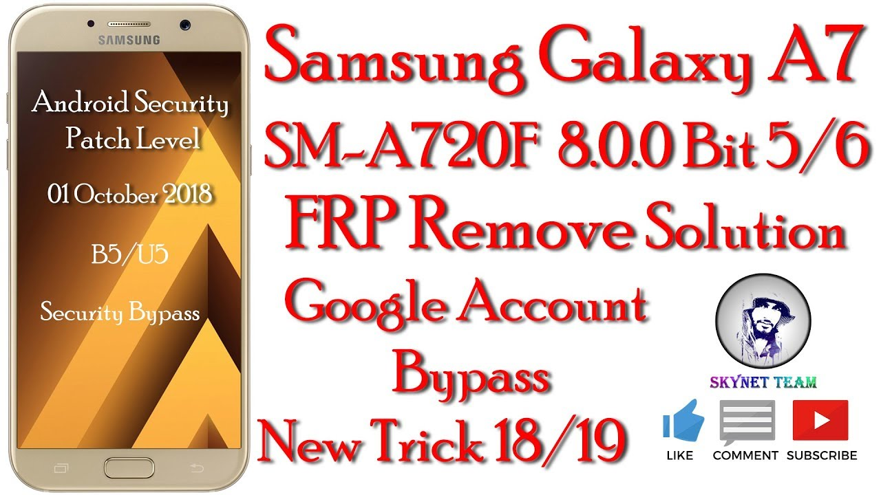 Samsung SM-A720F U5 Android 8 0 0 Oreo Remove Google Account || FRP Bypass  Easy Way || New Trick