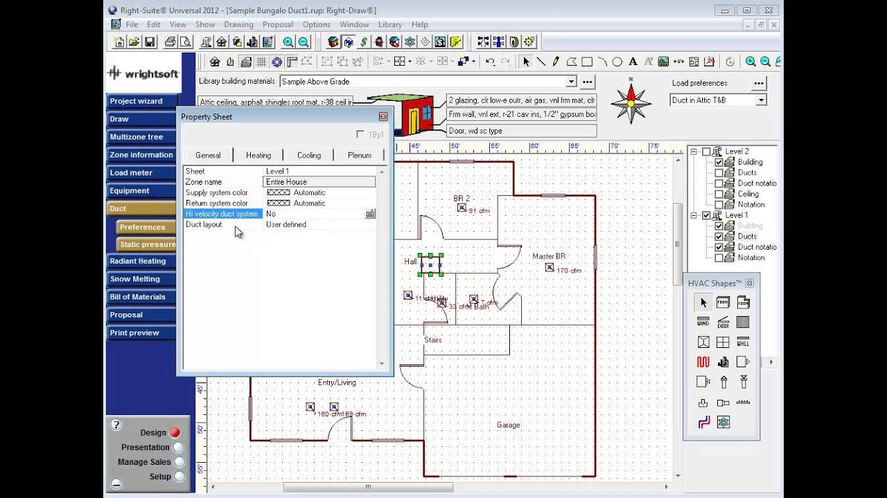 Wrightsoft Example Duct Design Step 4 Preparing The Draw Screen Hvac Drawing