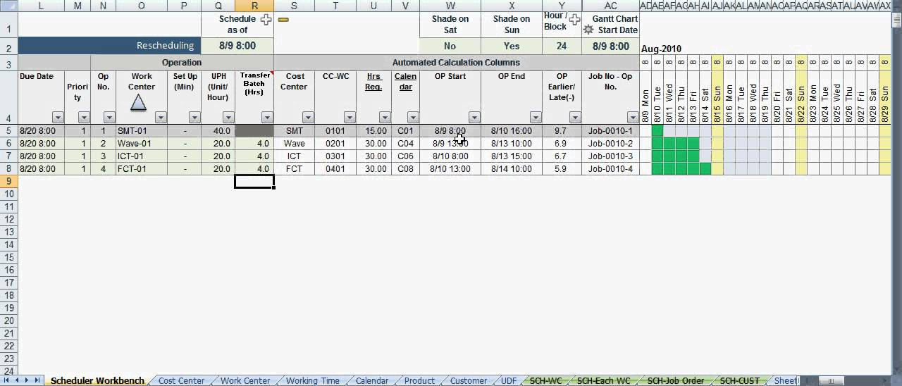 Scheduler123 Part A : Excel-Based Production Scheduling System