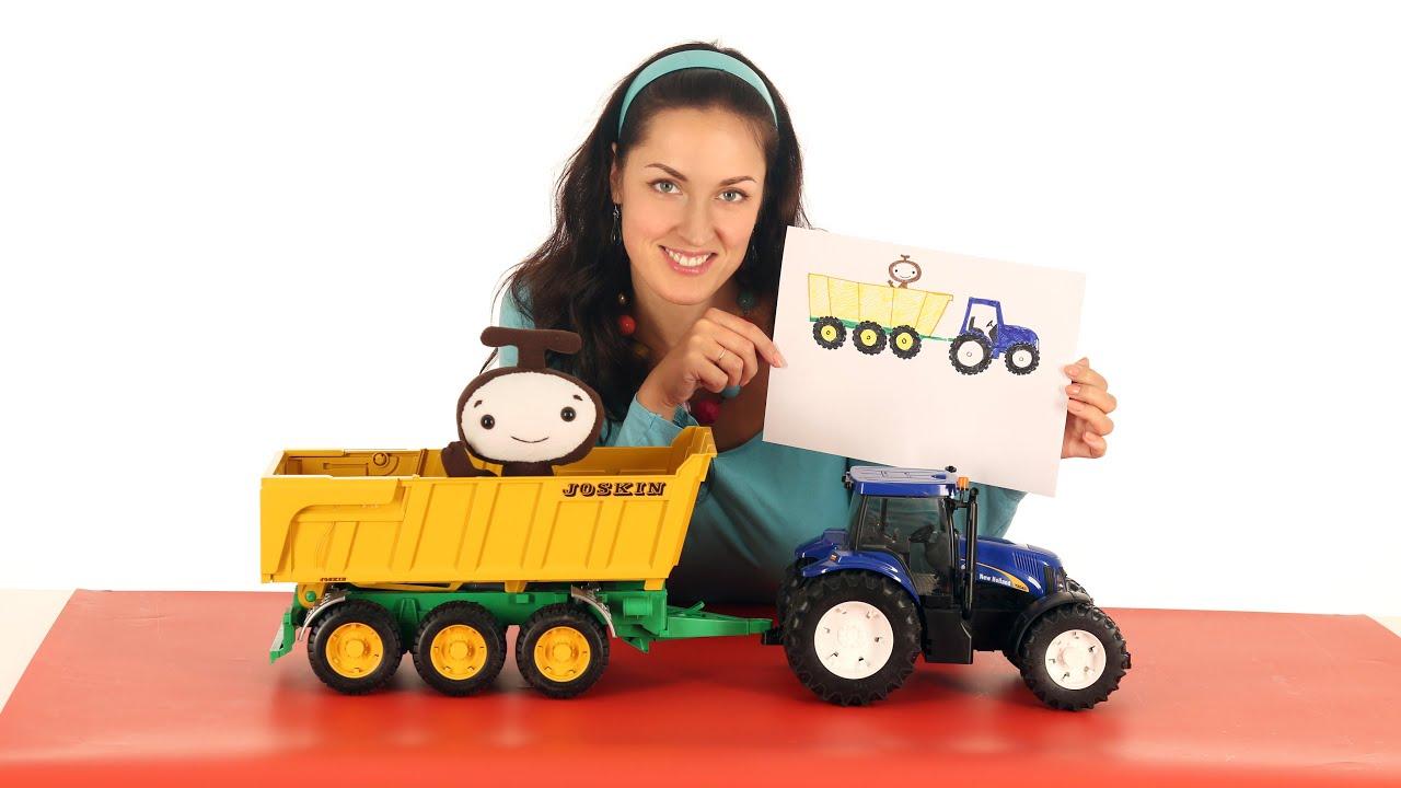 Поиграйка - Катя и волшебники Бимы - Рисуем синий трактор ...