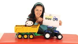 Поиграйка - Катя и волшебники Бимы - Рисуем синий трактор с прицепом