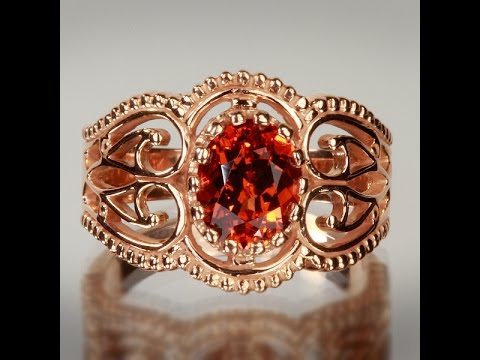 Rose Gold Antique Style Spessartite Garnet Ring