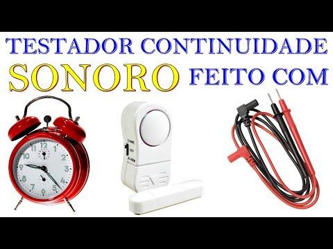 TESTADOR DE CONTINUIDADE CASEIRO SONORO E COM LED FEITOS COM RECICLAGEM DE RELOGIO, ALARME DOMÉSTICO