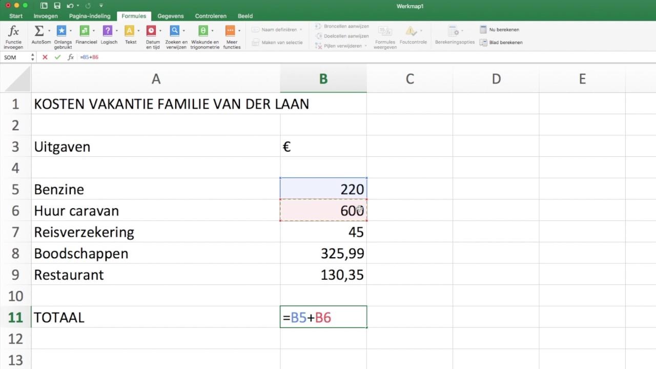Het Totaal Berekenen In Excel Youtube