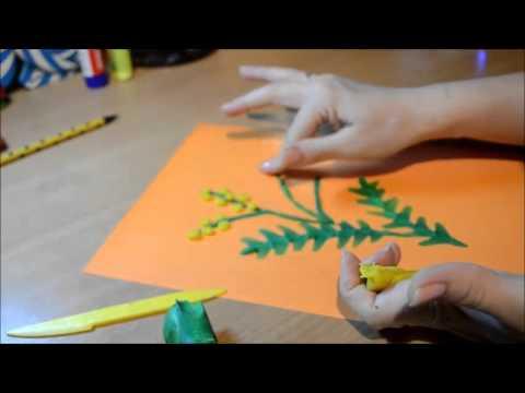Мимоза для мамы (пластилинография) для 4-7 лет