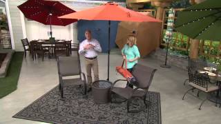 atleisure 9 turn 2 tilt patio umbrella w 52 solar led lights cover on qvc