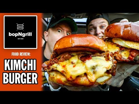 Eating Kimchi Burgers For The First Time Ever | BopNGrill Food Review