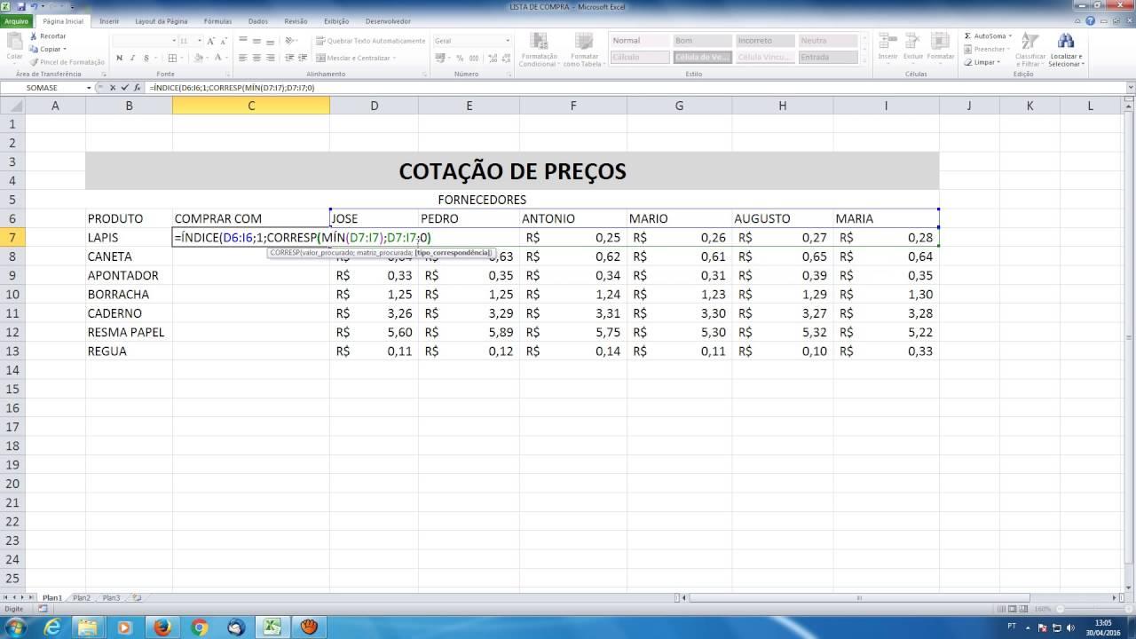 Cotação De Preços Utilizando Excel