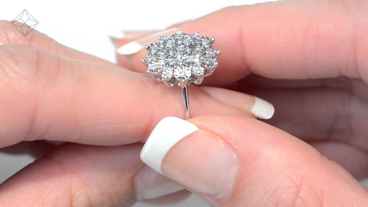 Diamond 0.10ct 9K White Gold Large Cluster Ring - E5888 - YouTube