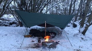 SOLO WILD HAMMOCK CAMP IN THE SNOW AND STRONG WIND