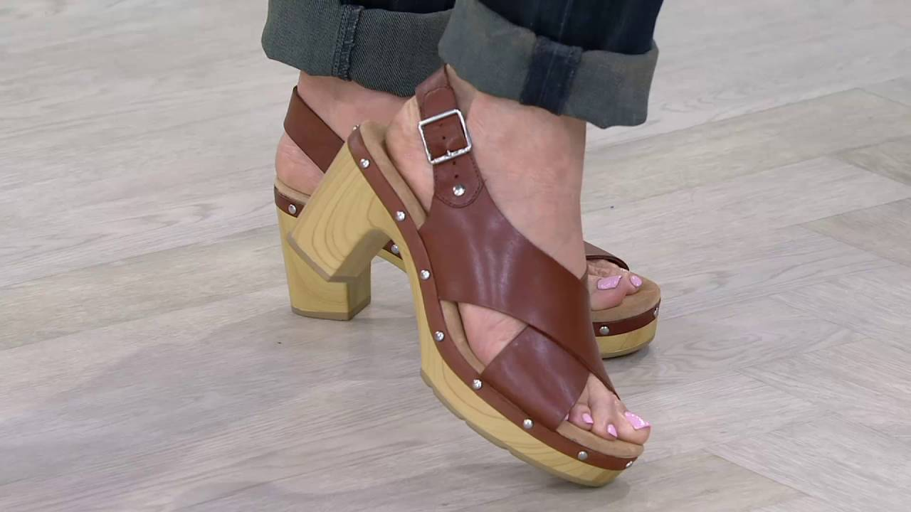 f06c2ff42013c1 Clarks Artisan Leather Slingback Sandals - Ledella Club on QVC - YouTube