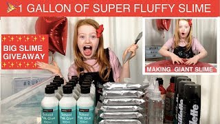 1 GALLON OF SUPER FLUFFY SLIME | MAKING GIANT RUBY ROSE UK SLIME  | BIG SLIME GIVEAWAY & ETSY SHOP