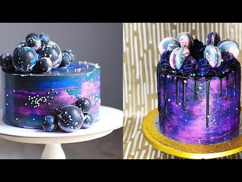 How to make galaxy cake design satisfying cake - How to make decorative cakes ...