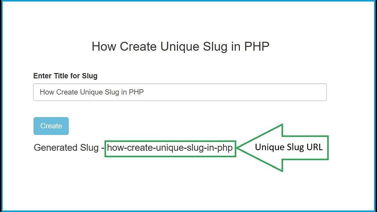 How to Generate Unique URL Slug in PHP