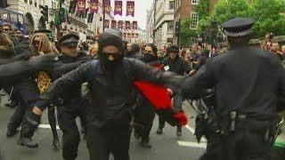 Violence in London as G8 protesters clash with police