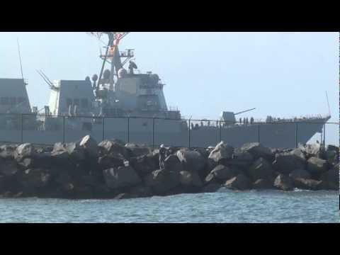 USS Kidd Departing NWS Seal Beach.mpg