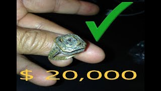 i FOUND $20,000 DOLLARS GOLD RING DIAMONDS EMERAL???  metal detecting