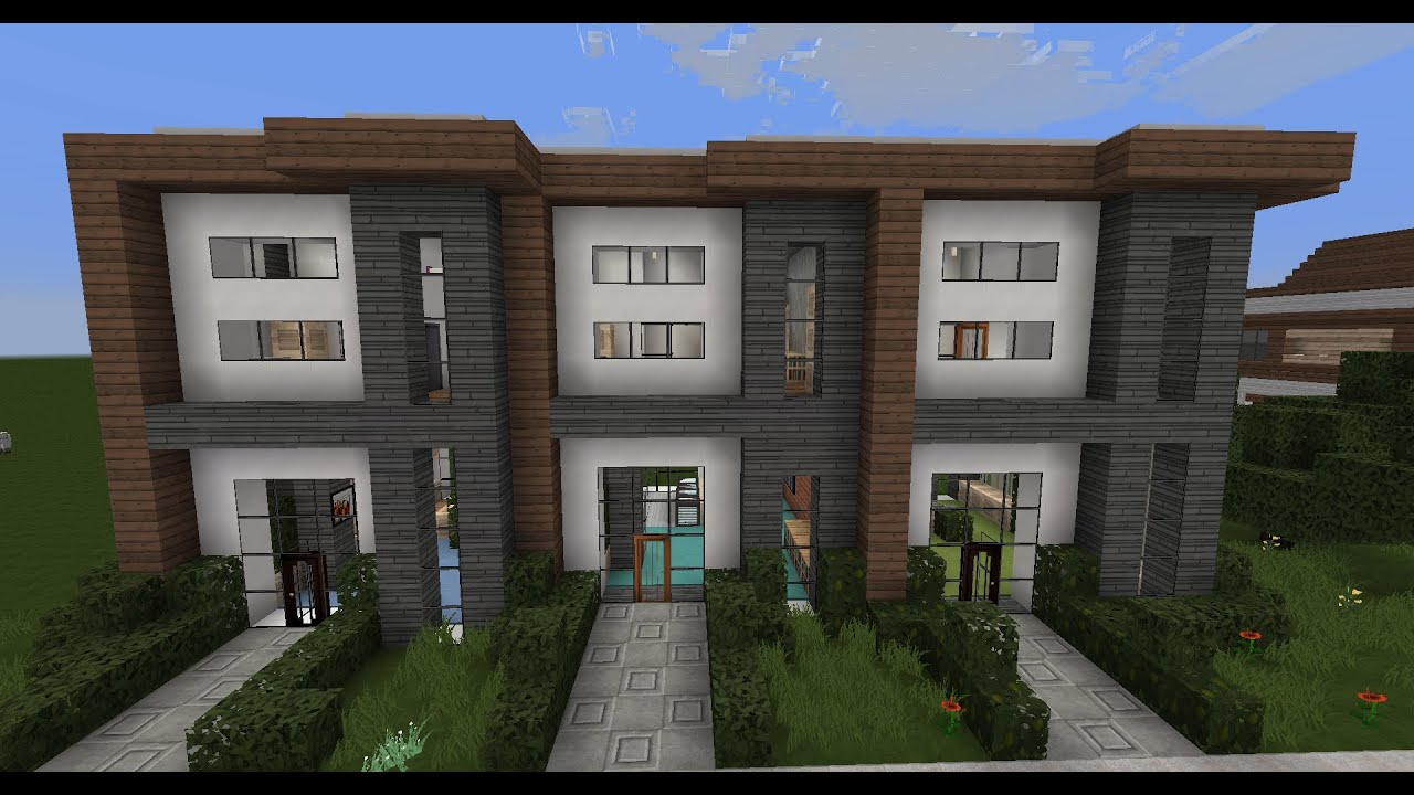 Minecraft modern house designs 6 modern house row youtube - Minecraft design house ...